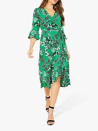 Yumi Butterfly Floral Print Ruffle Wrap Midi Dress, Green