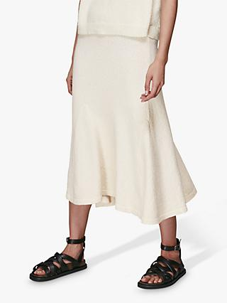 Whistles Flared Knitted Midi Skirt, Ivory