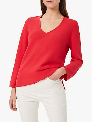 Hobbs Blanche Cotton Jumper, Coral Red