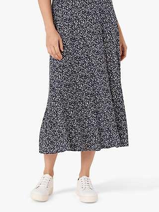 Brora Dapple Print Maxi Skirt, Navy