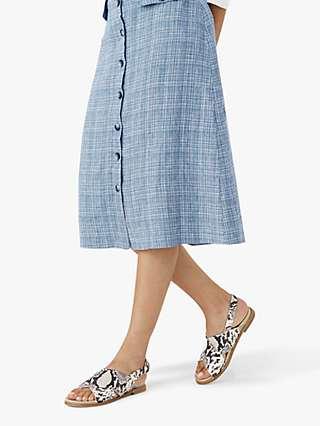 Brora Two Tone Linen Midi Skirt, Indigo