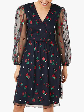 Monsoon Zariah Strawberry Print Dress, Navy