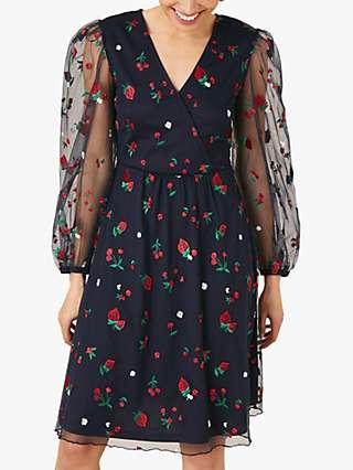 Monsoon Zariah Strawberry Print Dress, Navy