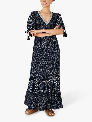 Monsoon Floral Print Tiered Dress, Navy