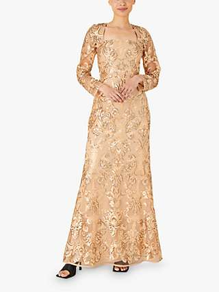 Monsoon Ariana Embellished Maxi Dress, Gold