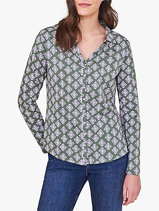 White Stuff Geometric Print Painting Shirt, Green/Multi
