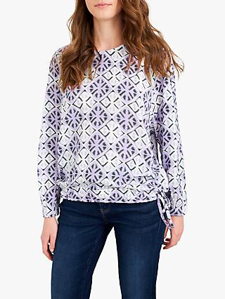 White Stuff Celia Geometric Print Top, Purple/Multi