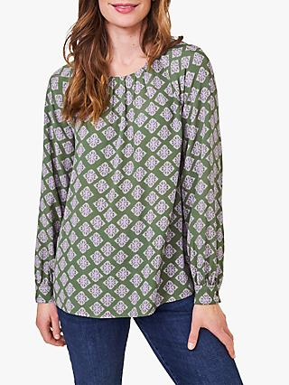 White Stuff Mia Geometric Print Top, Green/Multi
