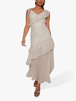 Chi Chi London Imelda Polka Dot Layered Maxi Dress, White