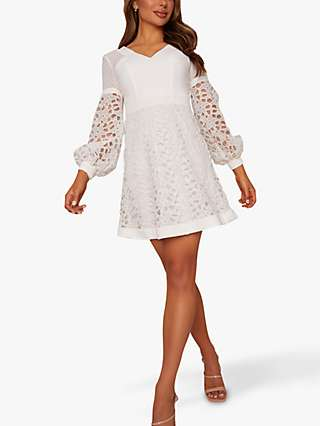 Chi Chi London Leta Lace Mini Dress, White