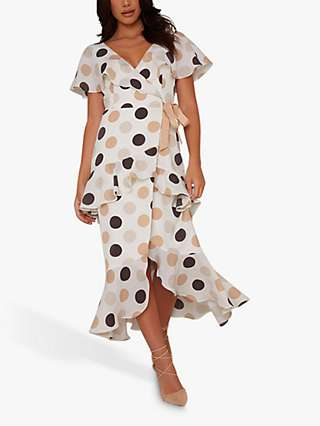 Chi Chi London Blessica Polka Dot Midi Dress, White