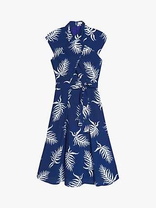 The Fold Mirabello Fern Print Dress, Blue/Multi