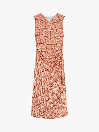 The Fold Belgravia Check Print Jersey Dress, Orange