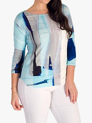 chesca Abstract Sky Print 3/4 Sleeve Top, Pale Blue/Grey