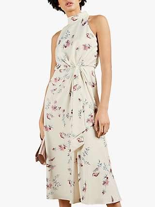 Ted Baker Zoeeey Knot Front Halterneck Midi Dress, Cream