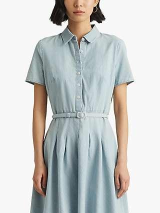 Lauren Ralph Lauren Emerson Short Sleeve Shirt Dress, Chambray Wash