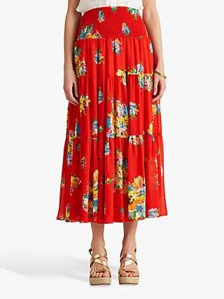 Lauren Ralph Lauren Vinnea Floral Georgette Midi Skirt, Bright Hibiscus/Multi