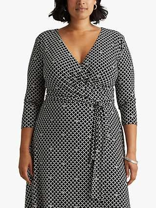 Lauren Ralph Lauren Curve Carlyna Logo Jersey Surplice Dress, Black/Colonial Cream