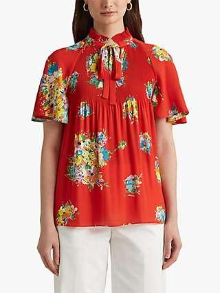 Lauren Ralph Lauren Adar Floral Georgette Tie Neck Top, Bright Hibiscus/Multi