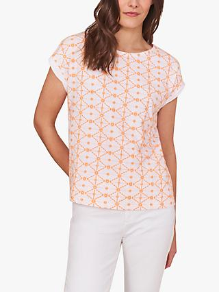 White Stuff Geometric Embroidered Tee