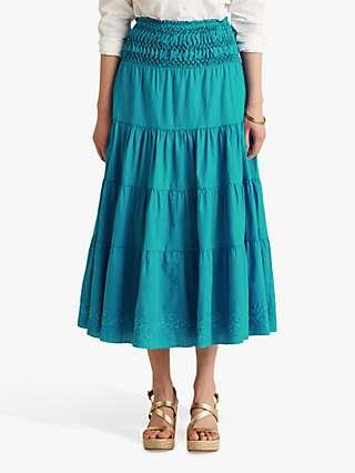 Lauren Ralph Lauren Luhanna Cotton Linen Blend Tiered Midi Skirt, Summer Topaz
