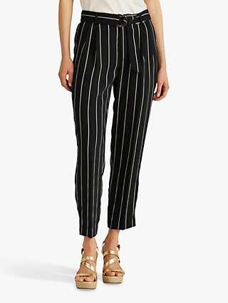 Lauren Ralph Lauren Vatrissa Belted Stripe Trousers, Polo Black/White