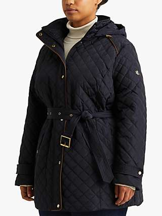 Lauren Ralph Lauren Curve Quilted Belted Jacket, Navy