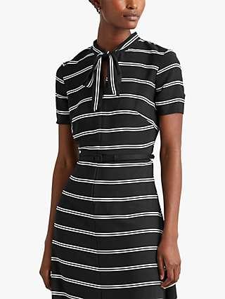 Lauren Ralph Lauren Laurence Striped Crepe Midi Dress, Black/Colonial Cream