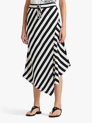 Lauren Ralph Lauren Hanif Striped Asymmetrical Satin Skirt, Silk White/Black