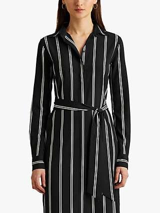 Lauren Ralph Lauren Rynetta Striped Belted Crepe Shirt Dress, Polo Black/Silk White