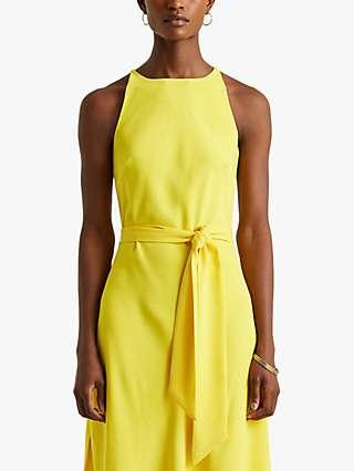 Lauren Ralph Lauren Shadisa Sleeveless Satin Cady Dress, Lemon Rind
