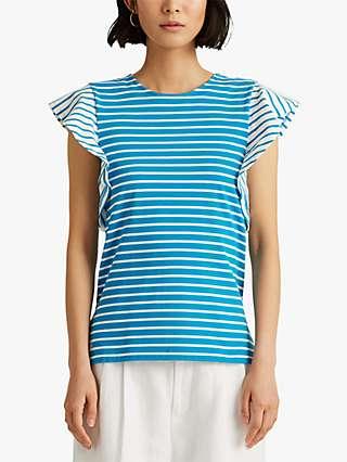 Lauren Ralph Lauren Dionah Striped Flutter Sleeve Jersey Top, Summer Topaz/White