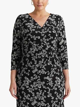 Lauren Ralph Lauren Curve Cleora Floral Jersey Dress, Black/Colonial Cream
