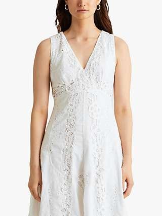 Lauren Ralph Lauren Venansia Lace Voile Hanky Hem Dress, White