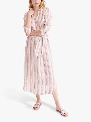 NRBY Chrissie Stripe Linen Maxi Shirt Dress, Multi