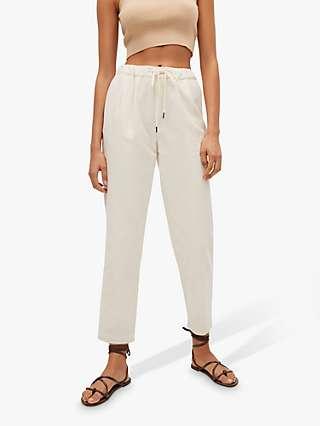 Mango Elastic Waist Cotton Trousers