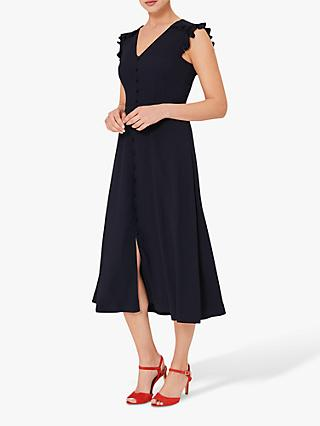 Hobbs Vivien Satin Midi Dress, Navy