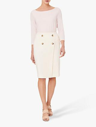 Hobbs Jasmine Knee Length Skirt, Warm Ivory