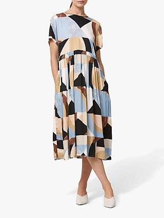 Helen McAlinden Louside Modern Geometric Print Dress, Blue/Multi