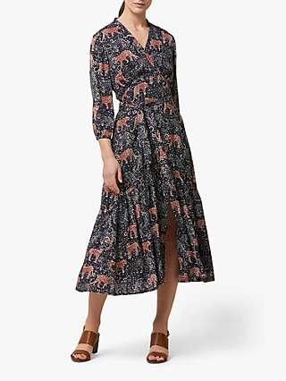 Helen McAlinden Beverley Tiger Print Midi Dress, Blue/Multi