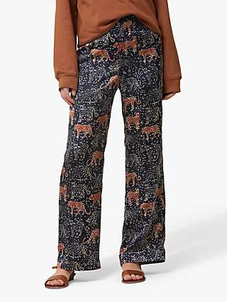 Helen McAlinden Lana Tiger Print Trousers, Navy