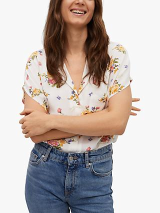Mango Flowy Floral Short Sleeve Shirt, White/Multi