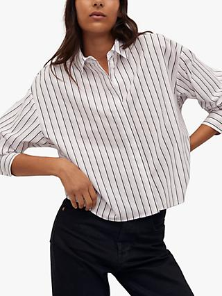 Mango Striped Cropped Cotton Shirt, White