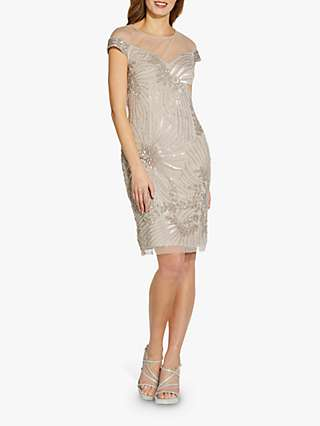 Adrianna Papell Beaded Cocktail Dress, Marble