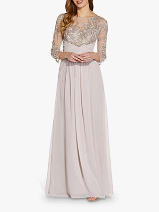 Adrianna Papell Plus Soft Floral Embroidered Gown, Marble