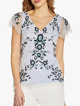Adrianna Papell Beaded Flutter Top, Serenity