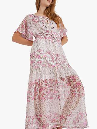 French Connection Ezeke River Daisy Crinkle Maxi Dress, Summer White/Multi