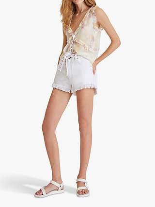 French Connection Duna Crinkle V-Neck Top, Butter Yellow/Mauve