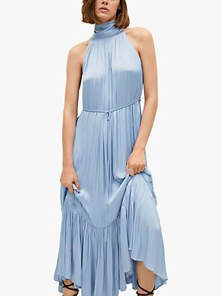 Mango Pleated Satin Maxi Dress, Sky Blue