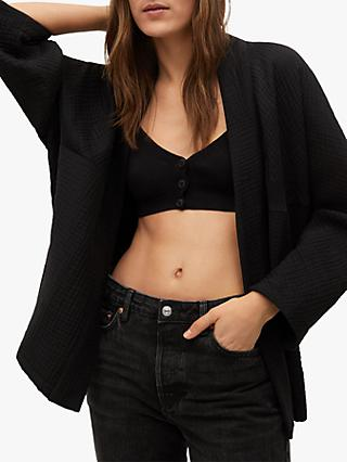 Mango Oversized Cotton Blend Jacket, Black